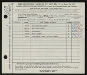 Entry card for McClean, Clara for the 1957 May Show.