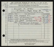 Entry card for McVey, William Mozart, and Joslin, Don for the 1957 May Show.