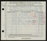 Entry card for Manning, Wray for the 1957 May Show.