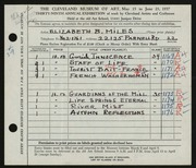 Entry card for Miles, Elizabeth B. for the 1957 May Show.