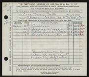 Entry card for Smith, Anne Jessop for the 1957 May Show.