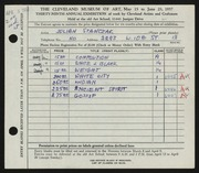 Entry card for Stanczak, Julian for the 1957 May Show.