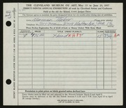Entry card for Tinker, Norman for the 1957 May Show.