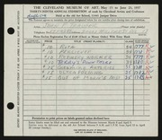 Entry card for Trauger, John F. for the 1957 May Show.