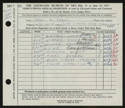 Entry card for Travis, Paul Bough for the 1957 May Show.