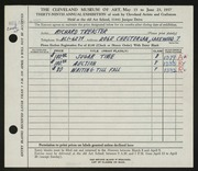 Entry card for Treaster, Richard for the 1957 May Show.