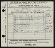 Entry card for Tubbesing, Robert L. for the 1957 May Show.