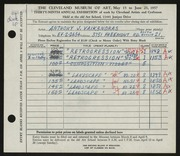 Entry card for Vaiksnoras, Anthony for the 1957 May Show.
