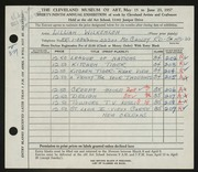 Entry card for Wilkenloh, Lillian for the 1957 May Show.