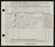 Entry card for Winter, Thelma Frazier for the 1957 May Show.