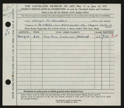 Entry card for Wooddell, Joseph M. for the 1957 May Show.
