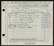 Entry card for Wyman, Carl for the 1957 May Show.