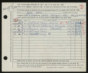 Entry card for Arth, Jack for the 1958 May Show.