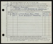 Entry card for Bohnel, Frank for the 1958 May Show.