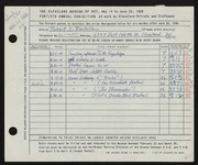Entry card for Bucholz, Robert John for the 1958 May Show.