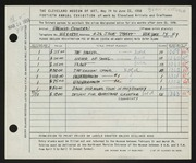 Entry card for Cowden, Virginia for the 1958 May Show.