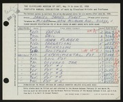 Entry card for Forst, Daniel James for the 1958 May Show.