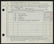 Entry card for Klein, Richard P. for the 1958 May Show.