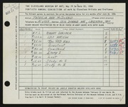 Entry card for McDonald, Patricia for the 1958 May Show.