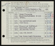 Entry card for Miles, Eugene R. for the 1958 May Show.
