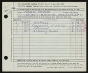 Entry card for Reisman, Frances for the 1958 May Show.