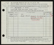 Entry card for White, Katherine C., and Masters, A. D.; Masters, Mrs. A. D. for the 1958 May Show.