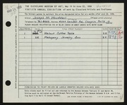Entry card for Wooddell, Joseph M. for the 1958 May Show.