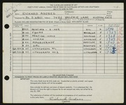 Entry card for Andres, Richard for the 1959 May Show.