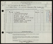 Entry card for Miles, Elizabeth B. for the 1959 May Show.