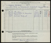 Entry card for Reisman, Frances for the 1959 May Show.