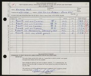 Entry card for Hall, Richard C. for the 1960 May Show.
