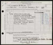 Entry card for Miles, Elizabeth B. for the 1960 May Show.