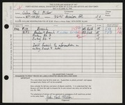 Entry card for Miller, John Paul for the 1960 May Show.