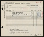 Entry card for Andres, Richard for the 1961 May Show.