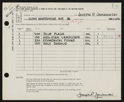 Entry card for Jankowski, Joseph Paul for the 1961 May Show.