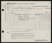 Entry card for Miles, Elizabeth B. for the 1961 May Show.