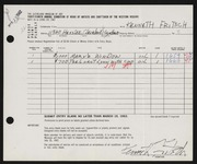 Entry card for Fritsch, Kenneth Harold for the 1962 May Show.