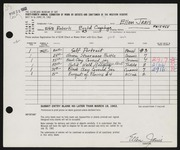 Entry card for Janis, Ellen for the 1962 May Show.