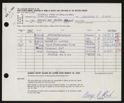 Entry card for Koch, George C., and Bowling Green State University for the 1962 May Show.