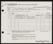 Entry card for Miles, Elizabeth B. for the 1962 May Show.