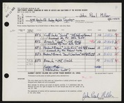 Entry card for Miller, John Paul for the 1962 May Show.
