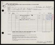 Entry card for Muhlert, Christopher for the 1962 May Show.