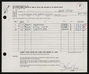 Entry card for Opie, John Mart for the 1962 May Show.
