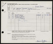 Entry card for Qubain, Elaine for the 1962 May Show.