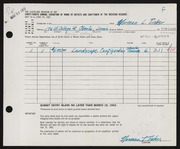 Entry card for Tinker, Norman for the 1962 May Show.