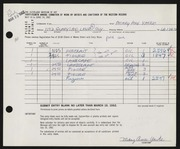 Entry card for Yaske, Mary Ann for the 1962 May Show.