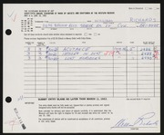 Entry card for Richards, William for the 1963 May Show.