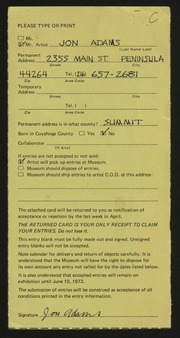 Entry card for Adams, Jon Leslie for the 1973 May Show.