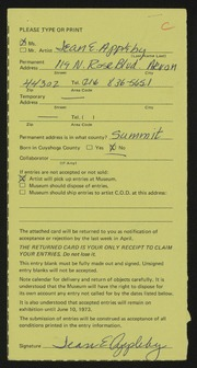 Entry card for Appleby, Jean E. for the 1973 May Show.