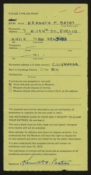Entry card for Bates, Kenneth F. for the 1973 May Show.